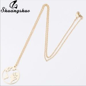 Brand New Gold World Pendant Necklace